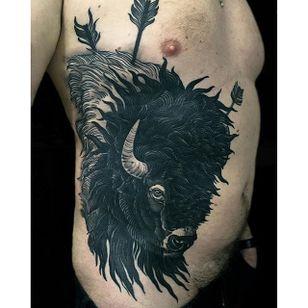 Buffalo Tattoo by Rakov #Buffalo #BuffaloTattoo #Bison #AmericanTraditional #Traditional #Rakov