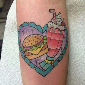 Burger + shake = true love. Tattoo by Alex Strangler. #traditional #pastel #burger #milkshake #heart #AlexStrangler