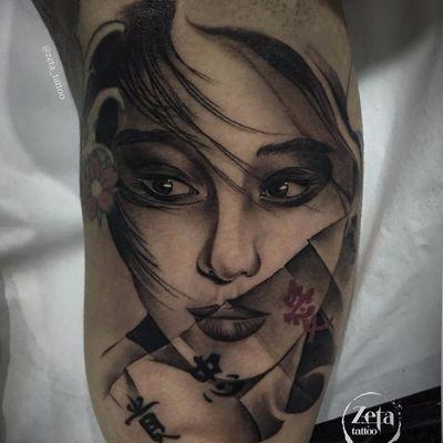 Tattoo por Ezequiel Pastor! #EzequielPastor #Gueixa #gueixatattoo #geisha #geishatattoo #blackandgrey #pretoecinza #blackandgreytattoo