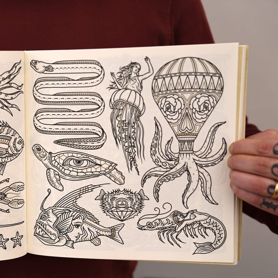 Some of the weird mashups in The Tattoo Flash Coloring Book by Ollie Munden. #bookreview #coloringbook #flashdesign #MEGAMUNDEN #OllieMunden