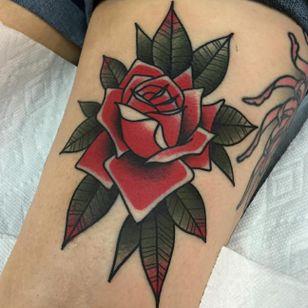 Rose tattoo by Dannii G #DanniiG #traditional #neotraditional #rose #oldschool (Photo: Instagram @dannii_ltp13)