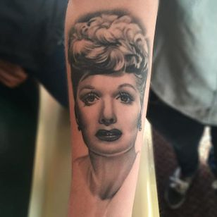 Lucille Ball portrait tattoo by Jay Quarles. #portrait #blackandgrey #realism #LucilleBall #JayQuarles
