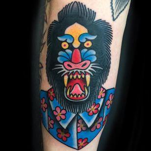 Mandrill tattoo by Ash Hochman #AshHochman #color #newtraditional #traditional #mandrill #monkey #baboon #gorilla #fangs #animal #nature #hawaii #hawaiianshirt #flowers #cherryblossoms #tattoooftheday
