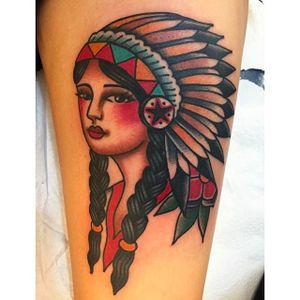 Beautiful native girl head tattoo done by Jaclyn Rehe.#JaclynRehe #ChapelTattoo #traditional #girl #girlhead #girlsgirlsgirls #nativeamericangirl
