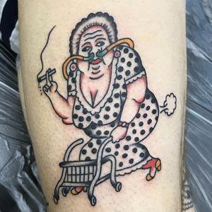 Crazy grandma tattoo by scumboy666 #Scumboy666 #funnytattoos #color #traditional #grandma #oldlady #fart #oxygen #smoking #polkadots #lady