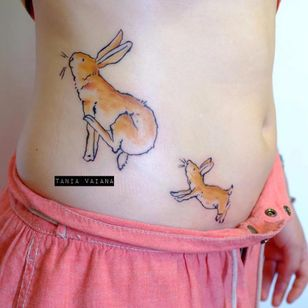 Rabbit tattoo by Tania Vaiana #TaniaVaiana #illustrative #minimalistic #rabbit