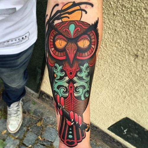 Owl Tattoo by Jacob Wiman #Owl #NeoTraditional #NeoTraditionalTattoos #Owl #NeoTraditionalArtist #BoldTattoos #JacobWiman