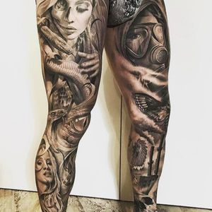 Insane black and white double leg sleeve from a guy who doesn't credit his artist. #legsleeve #gasmask #snakes