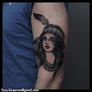 An exquisite black and grey Native American lady head by Tony Nilsson (IG—tonybluearms). #blackandgrey #ladyhead #NativeAmerican #TonyNilsson #traditional