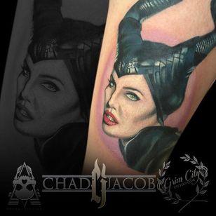 Maleficent Tattoo by Chad Jacob #Maleficent #Portrait #ColorPortrait #PortraitTattoos #ColorRealism #ChadJacob #Maleficent