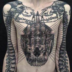 Bones Tattoo by Dmitriy Divin #bones #skeleton #skeletontattoo #blackwork #blackworktattoo #blackworktattoos #blackink #blacktattoos #russiantattoos #DmitriyDivin