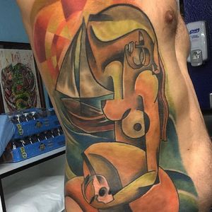A gorgouse cubist nude by Bugs (IG-bugsartwork). #Bugs #colorful #cubism #nude #skull