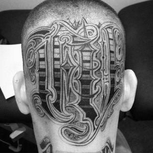 Lettering Tattoo by Kingsley Hayward #lettering #script #blackandgrey #KingsleyHayward
