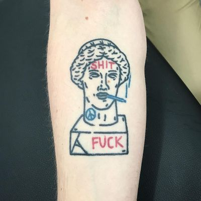 Too Cool Sculpture tattoo by The Magic Rosa #themagicrosa #funnytattoos #linework #illustrative #text #smoking #peacesign #sculpture #bust #head #face #shit #fuck #cigarette #peace