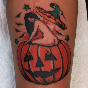 Pumpkin babe. (via IG - azamp_) #HalloweenTattoo #Halloween #Pumpkin #Lady