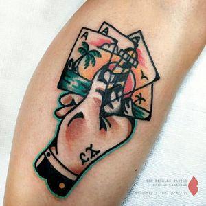 Cards tattoo by Redlip Tattooer. #RedlipTattooer #Redlip #traditional #bold #cards #ace #landscape #sunset #beach