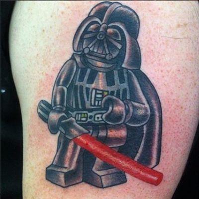 An adorable Lego Darth Vader by Den Ramos. #DarthVader #DenRamos #Lego #NYCtattooshops #TattooSeen