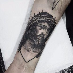 Jesus Christ tattoo by Planoc #Planoc #monochrome #monochromatic #blackandgrey #dotwork #blackwork #jesuschrist #jesus #christ