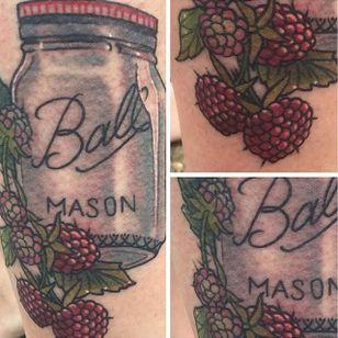 For lovers of homemade raspberry jam. Tattoo by Seth Rock. #raspberry #fruit #masonjar #SethRock