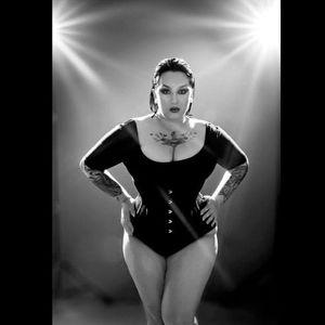 Those tattoo sleeves set off her edgy look perfectly Photo by Jessica Rae #KeroseneDeluxe #plusmodel #tattooedlady #model #fetish #pinup #tattoomodel #JessicaRae