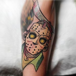 Jason Voorhees Tattoo by Thom Bulman #jasonvoorheestattoo #newschool #popculture #popculturetattoos #newschoolpopculture #boldtattoos #popcultureartist #ThomBulman