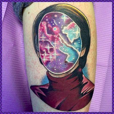 Carl Sagan with cosmic face by Micah Harold (via IG -- micahharold_tattoo) #michahharold #sagan #carlsagan #carlsagantattoo #cosmos