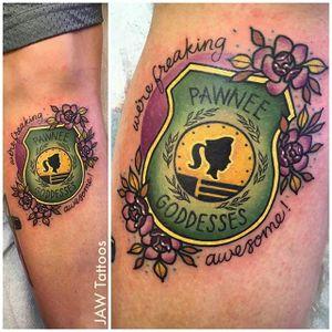 Pawnee Goddesses tattoo by Jess White (via IG -- jawtattoos) #JessWhite #parksandrec #parksandrectattoo #parksandrecreation #parksandrecreationtatto