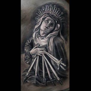 Amazing shading technique utilized on thisOur Lady of Sorrows tattoo done by Anastasia Forman. #AnastasiaForman #realistic #blackandgray #sevenswords #ourladyofsorrows
