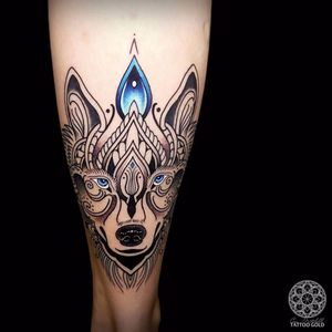 Wolfie by Coen Mitchell #CoenMitchell #blackandgrey #color #linework #dots #wolf #dog #nature #jewel #pattern #ornamental #tattoooftheday