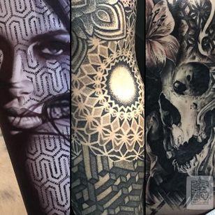 Pattern sleeve tattoos by Joz #Joz #MarkJoslin #mandala #blackwork #dotwork #blackandgrey (Photo: Instagram @joz100)
