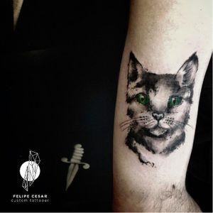 Muito lindo esse gato que o Felipe Cesar fez! @felipecesar #FelipeCesar #CatTattoo #Cat #Gato #GatoTattoo #TatuadoresBrasileiros #TatuadoresBrasil #Brasil