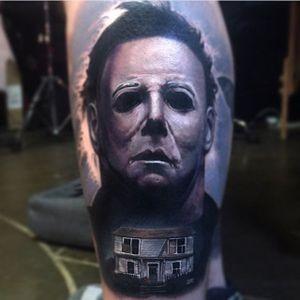 Michael Myers Tattoo by Paul Acker #michaelmyers #michaelmyerstattoo #halloween #halloweenatattoo #horror #horrortattoo #PaulAcker
