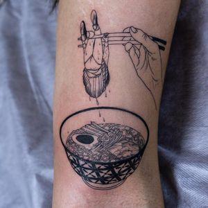 Girls and Ramen: All I Need by Oozy #Oozy #blackwork #linework #dotwork #hand #chopsticks #girl #schoolgirl #soup #Pho #ramen #egg #noodles #foodtattoo #food #bowl #pattern #tattoooftheday