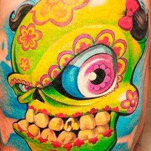 Brightly colored fun sugar skull tattoo by John Maxx #skull #newschool #sugarskull #JohnMaxx