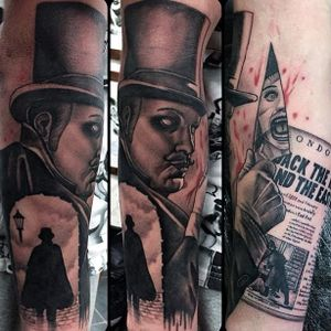 Jack the Ripper tattoo by Tim Childs.#JacktheRipper #serialkiller #history #england #london #killer
