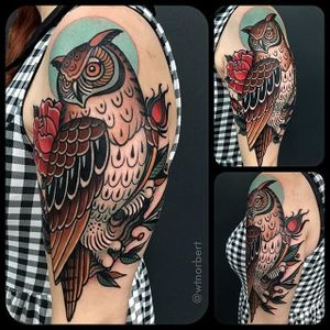 Owl Tattoo by W.T. Norbert #neotraditional #traditional #bold #WTNorbert