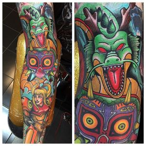 Awesome vibrant dragon sleeve done by Pat Bennett! #vibrant #dragon #sleeve #color #colorful #solid #PatBennett