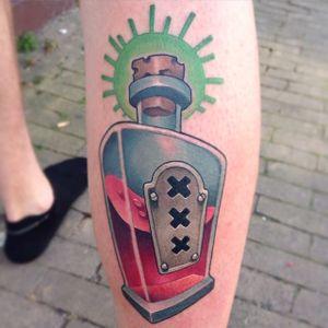 New School Bottle Tattoo by Jamie Ris #NewSchool #NewSchoolTattoos #NewSchoolTattoo #NewSchoolArtist #NewSchoolTattooArtist #JamieRis