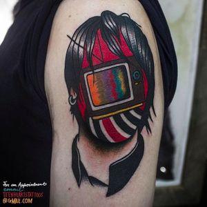 TV and Man Faceless Tattoo by @TeenHeartsTattoos #Teenheartstattoos #Faceless #Facelesstattoos #Neotraditional #Neotraditionaltattoos #SantaAna #California #TV #Man