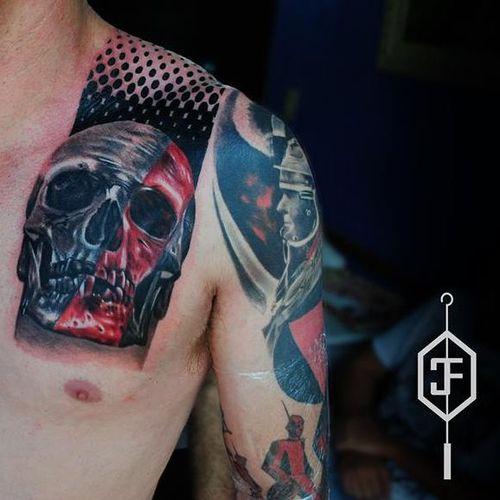 #caveira #skull #trashpolka #CleberFrança #talentonacional #tatuadorBrasileiro #brasil