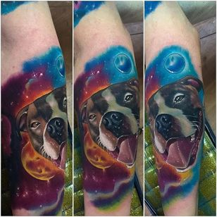 Pit bull in space by Chauncey Kochel. #realism #colorrealism #space #galaxy #dog #pitbull #ChaunceyKochel