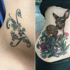 Bambi tattoo by Abbie Williams. #bambi #waltdisney #disney #deer #fawn #rabbit