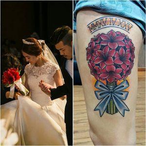 Wedding flower bouquet tattoo by @kiljun. #flowers #bouquet #wedding #floral #traditional #neotraditional #kiljun