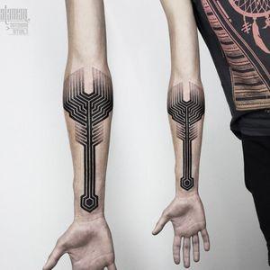 Labyrinth tattoo by Salaman #Salaman #dotwork #sacredgeometry #geometric #labyrinth #blackwork #btattooing