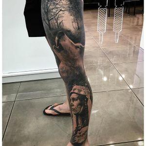 Native American sleeve via instagram da_ink #nativeamerican #wolf #forest #blackandgray #portrait #realism #daink #drewapicture