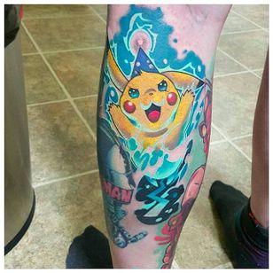 Electrifying Pikachu tattoo by Mitchel Von Trapp @Mitchelmonster #Mitchelvontrapp #Newschool #Fantasy #AtomicZombietattoo #Pikachu #Pokemon