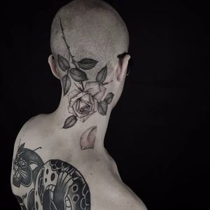 Bold rose tattoo by Ed Taemets #EdTaemets #blackandgrey #blackwork #rose