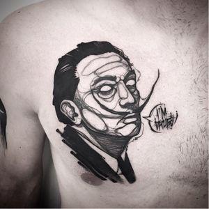 Salvador Dali tattoo by Matteo Gallo #MatteoGallo #trashstyle #graphic #blackwork #sketch #abstract #salvadordali #dali