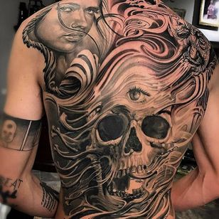 Tattoo by Jose Perez Jr #JosePerezJr #selftaughttattooartists #blackandgrey #realism #realistic #skull #death #thirdeye #portrait #lady #age #time #smoke #filigree #backpiece