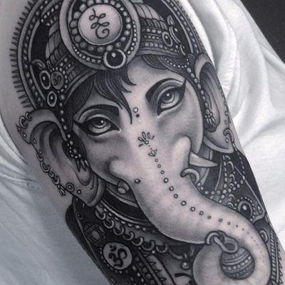 Punk rock Ganesha by Flo Nuttall #FloNuttall #Hinduism #Ganesha #blackandgrey #realistic #elephant #punk #80s #ornamental #jewelry #unalome #om #dotwork #neotraditional #tattoooftheday